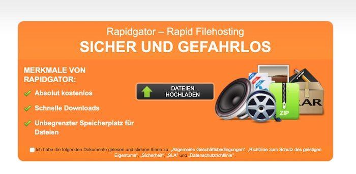 Angebot des Filehosters auf orangenem Grund