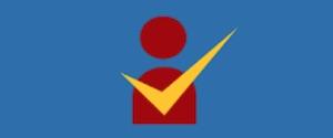 Rote Figur auf blauem Grund