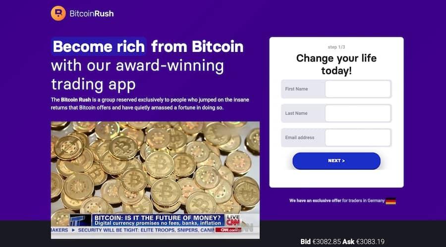 Bitcoin Rush Falešné zisky