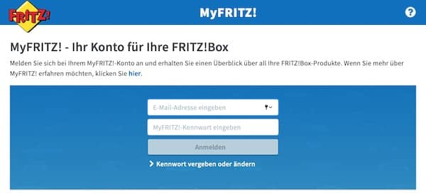 MyFritz Anmeldung