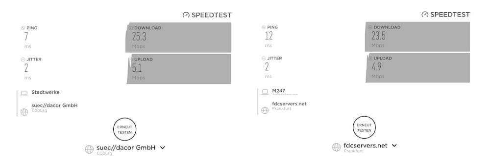 Comparación de velocidad con y sin NordVPN