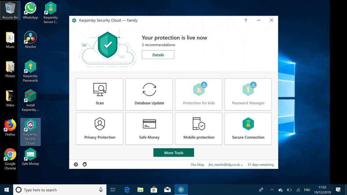 Kaspersky Security Cloud Free test